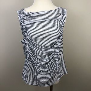 NEW Anthropologie Deletta Striped Ruched Tank 0285